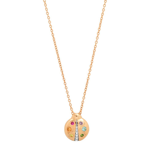 Multicolored Baby Ladybug Necklace