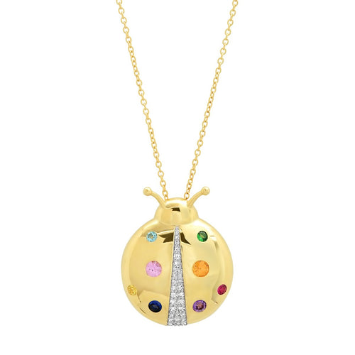 Multicolored Mama Ladybug Necklace