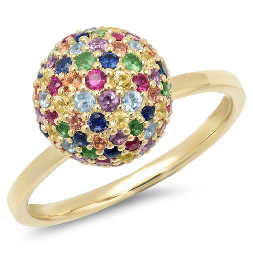 Mixed Gemstone Disco Ball Ring