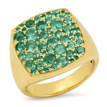 Emerald Cushion Signet Ring