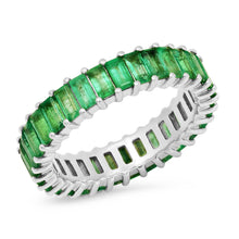 Emerald Vertical Baguette Eternity Band Ring