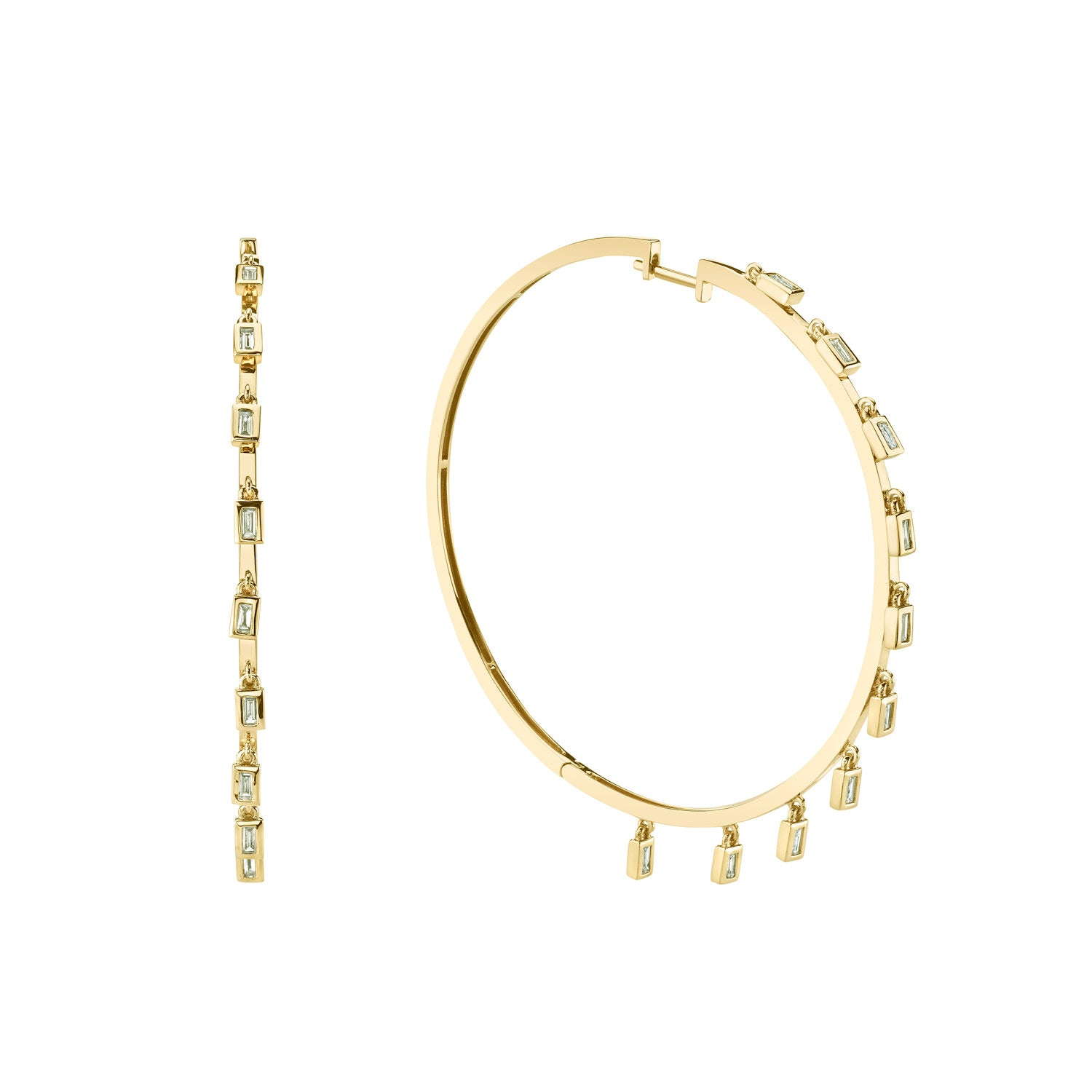 Baguette Dangle Hoops