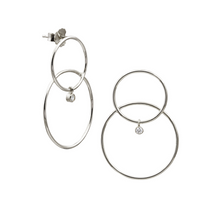 Scarpa Double Hoop with Dangle Diamond Earrings
