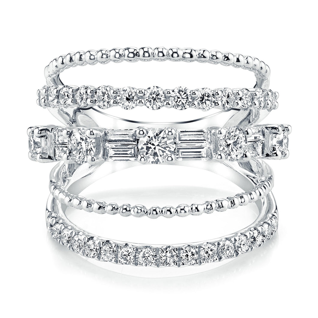 5 Row Mixed Shape Diamond Ring