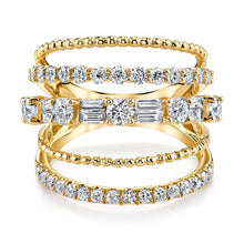 5 Row Mixed Shape Diamond Ring 18k gold