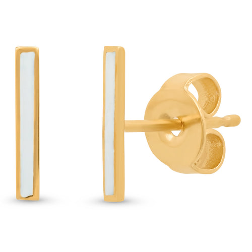 Enamel Bar Stud Earrings