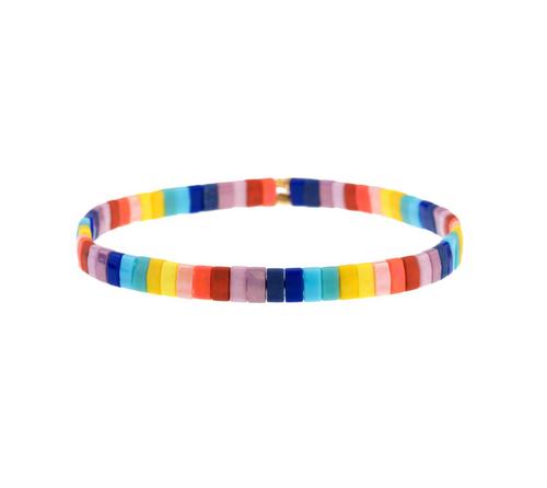 Set of 3 Tilu Summer Stretch Bracelets in Rainbow