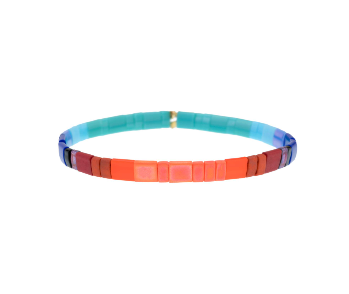 Set of 3 Tilu Summer Stretch Bracelets in Cobalt Wine