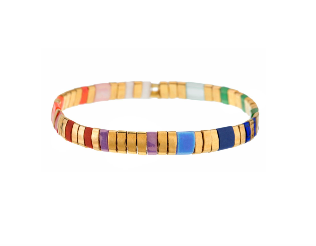 Set of 3 Tilu Summer Stretch Bracelets in Gold Multi