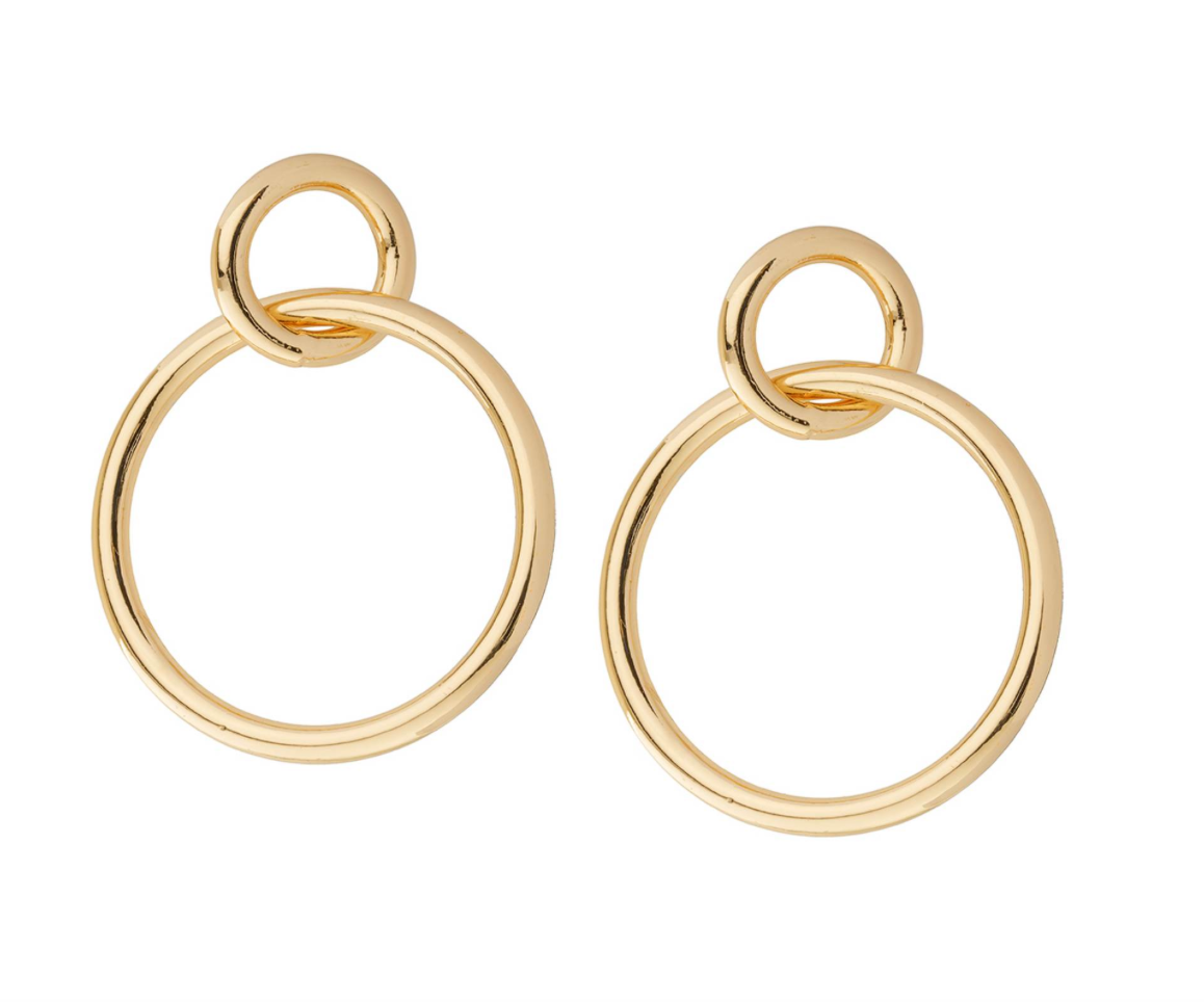 Double Circle Post Hoops Earrings