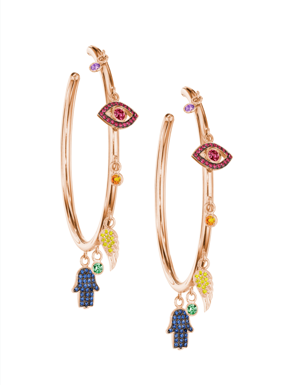 netali nissim rainbow sapphire charm hoop earrings