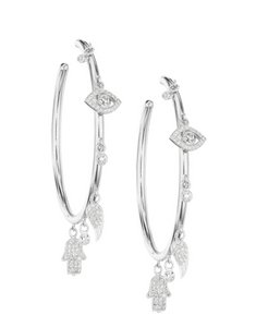 wg netali nissim diamond charm hoop earrings