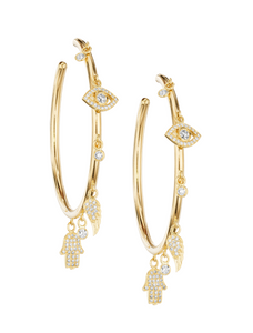 Whimiscal Charm Hoop Earrings