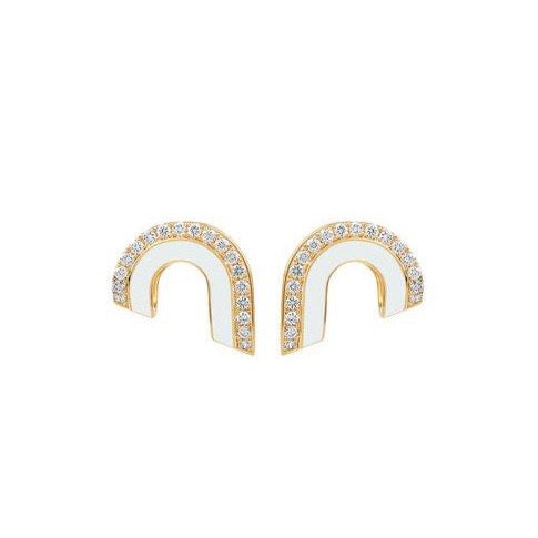Dias Pave Diamond & Enamel Arc Earrings