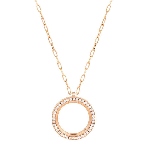 George Pave Diamond Circle Pendant Necklace