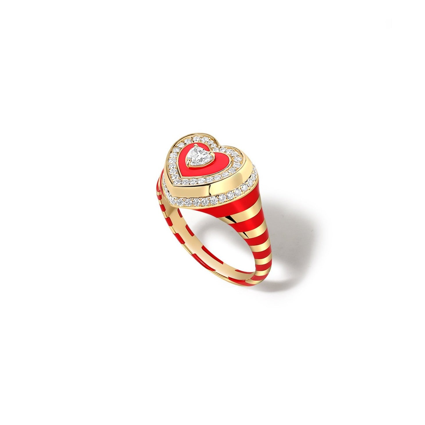 Utama Enamel & Diamond Heart Signet Ring