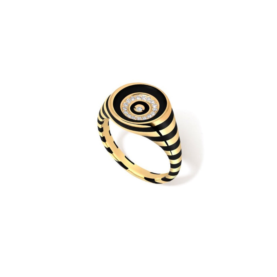 Rinzo Enamel & Diamond Round Signet Ring