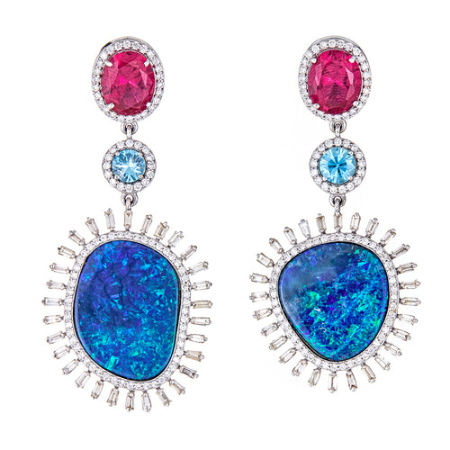 One of a Kind Opal and Ruby Statement Earrings