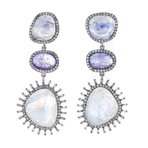 One of a Kind Moonstone and Tsavorite with Diamond Baguette Statement Earrings