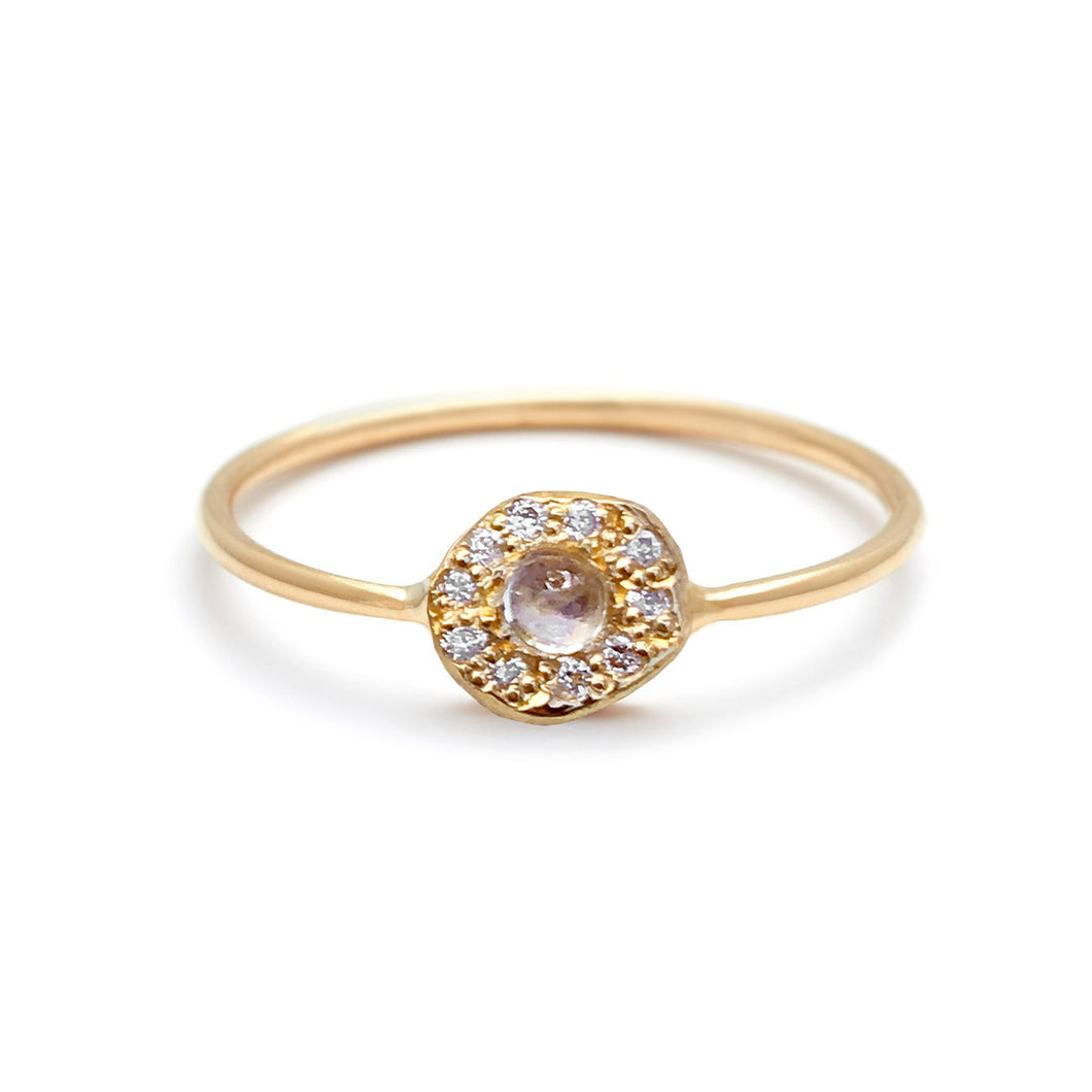 Moonstone Diamond Disk Ring