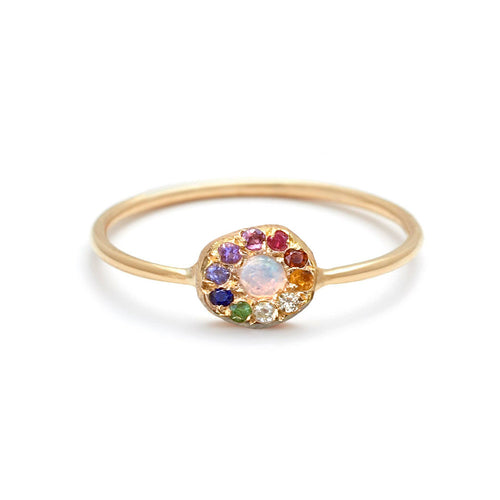 Opal Rainbow Disk Ring