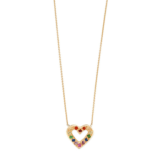 Multicolor Tiny Open Heart Necklace