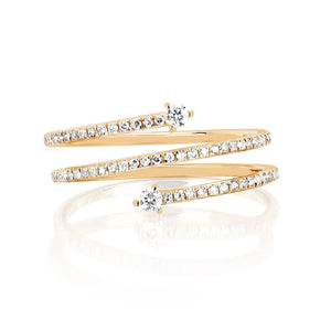 Double Prong Set Diamond Twist Ring