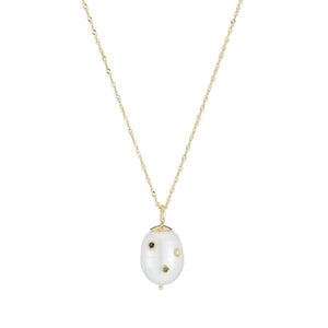 ariel gordon birthstone drilled stone baroque pearl drop necklace