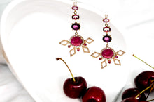 Shades of Red Half Flower Earrings