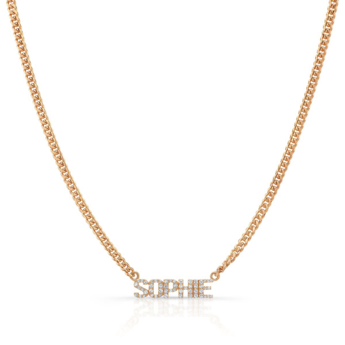 Diamond Nameplate on Cuban Link Necklace
