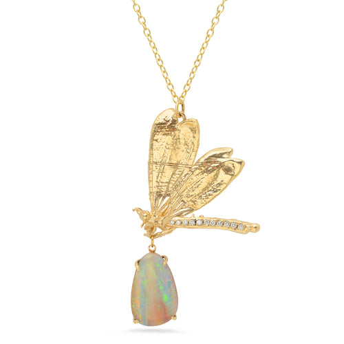 Diamond Butterfly and Opal Pendant Necklace