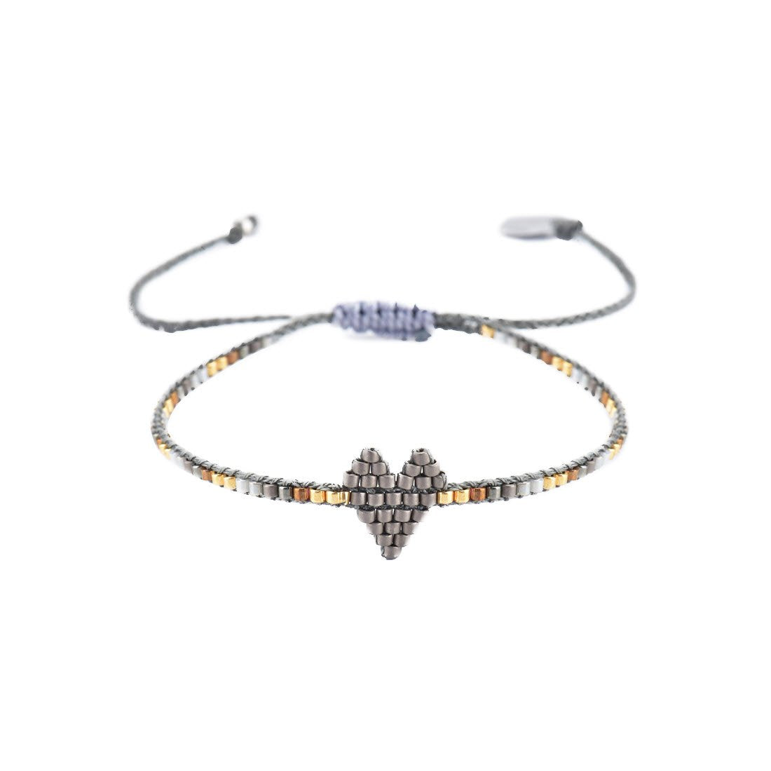 Thin Beaded Heart Bracelet