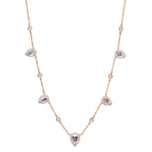 Moonstone Teardrops With Bezel Set Diamonds Necklace