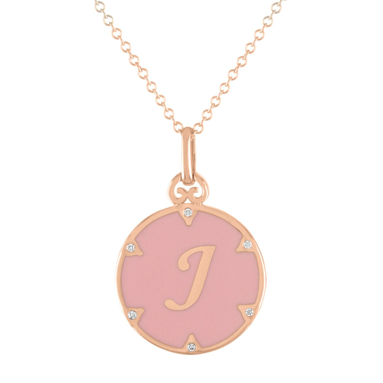 Enamel Initial Coin Pendant Necklace