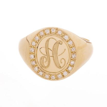 Jumbo Diamond Signet Ring