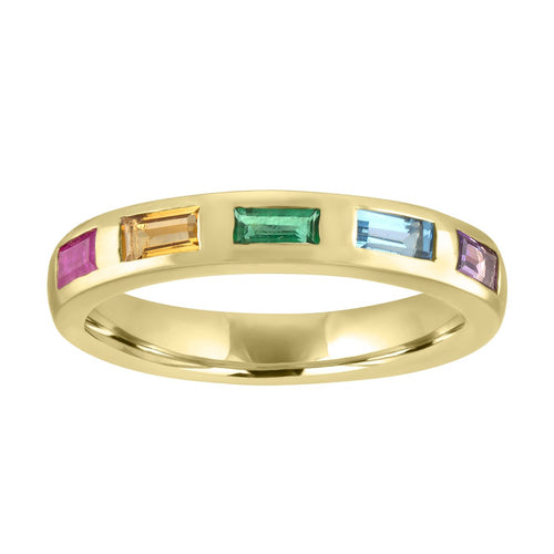 Amanda Rainbow Baguette Band Ring