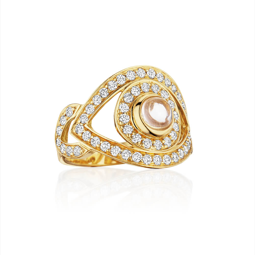 netali nissim yellow gold diamond evil eye ring