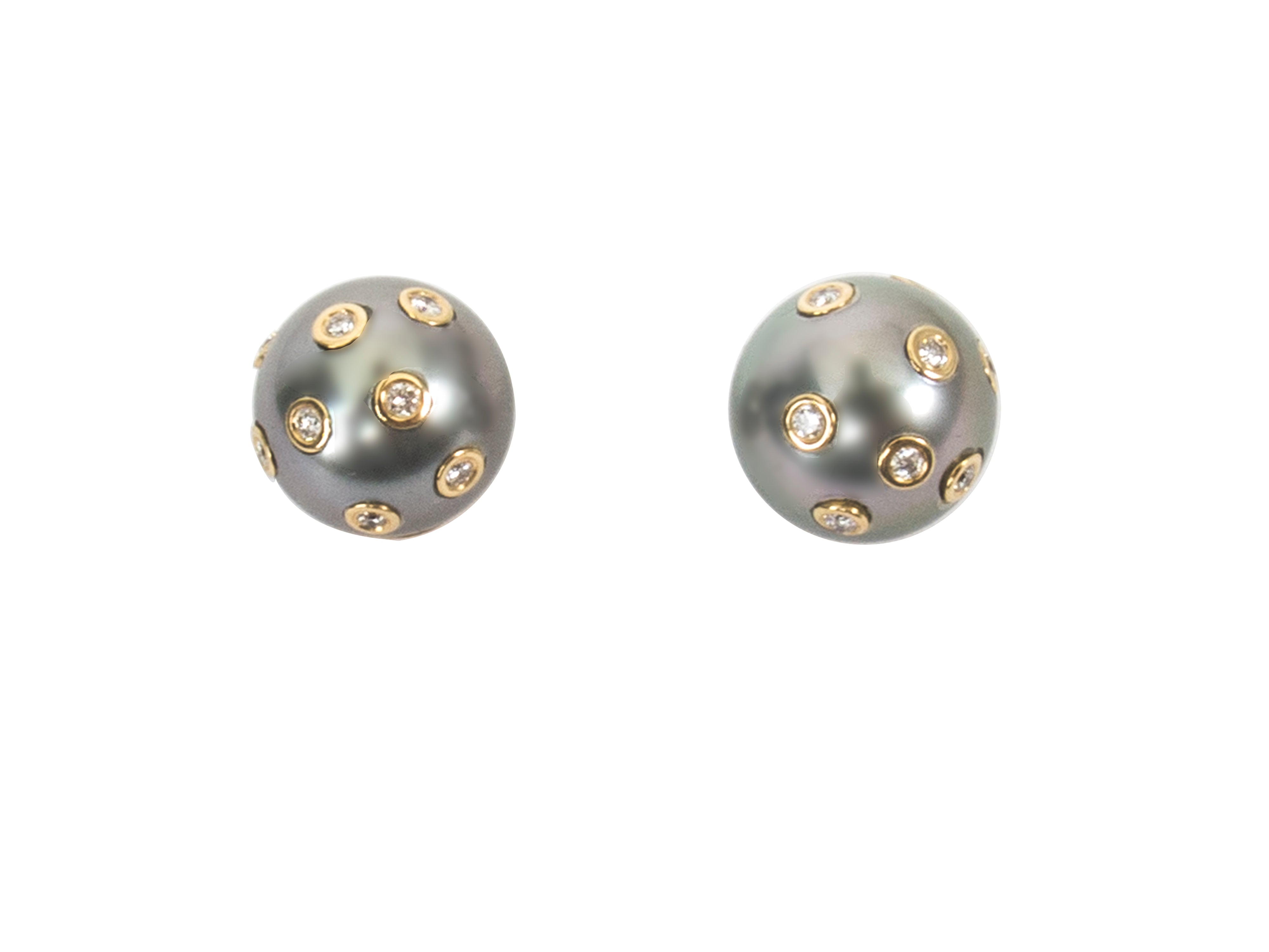 Tahitian Pearl with Encrusted Diamonds Stud Earrings