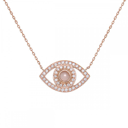 rose gold diamond evil eye necklace