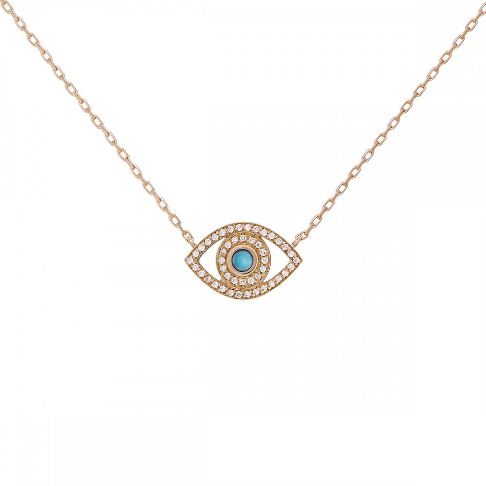 rose gold petite diamond and turq evil eye necklace