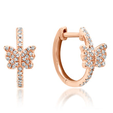 Diamond Butterfly Huggie Earrings