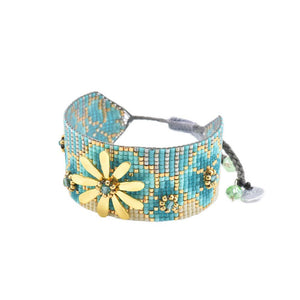Wide Beaded Bracelet With Gold Flower