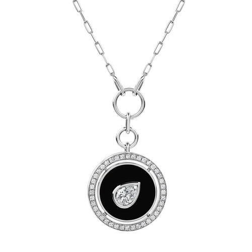 Aebi Pear Diamond in Enamel & Diamond Medallion Pendant Necklace