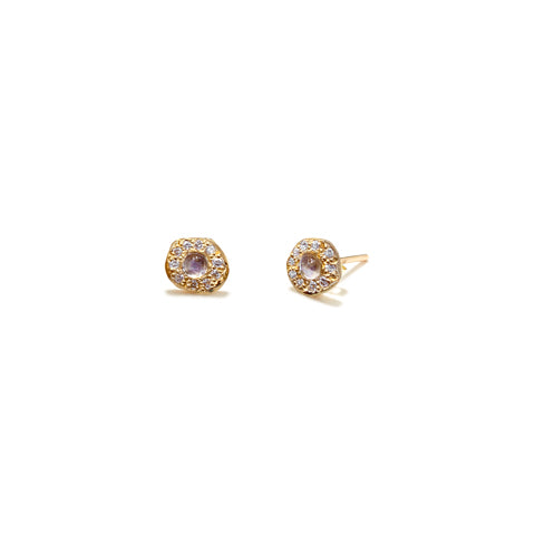 Moonstone Diamond Disk Studs
