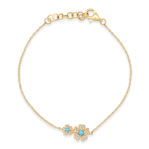 Delicate Double Diamond & Turquoise Flower Bracelet