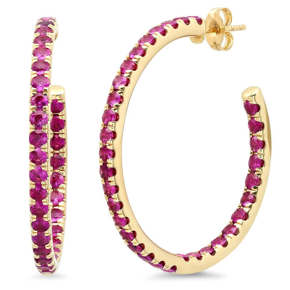 eriness ruby party hoop earrings