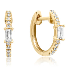 single diamond baguette huggie earrings