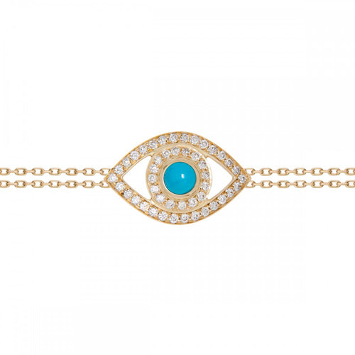 Diamond & Turquoise Evil Eye Bracelet