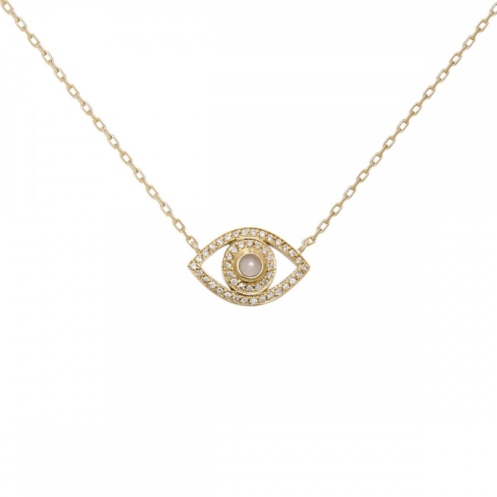 yellow gold petite diamond evil eye necklace