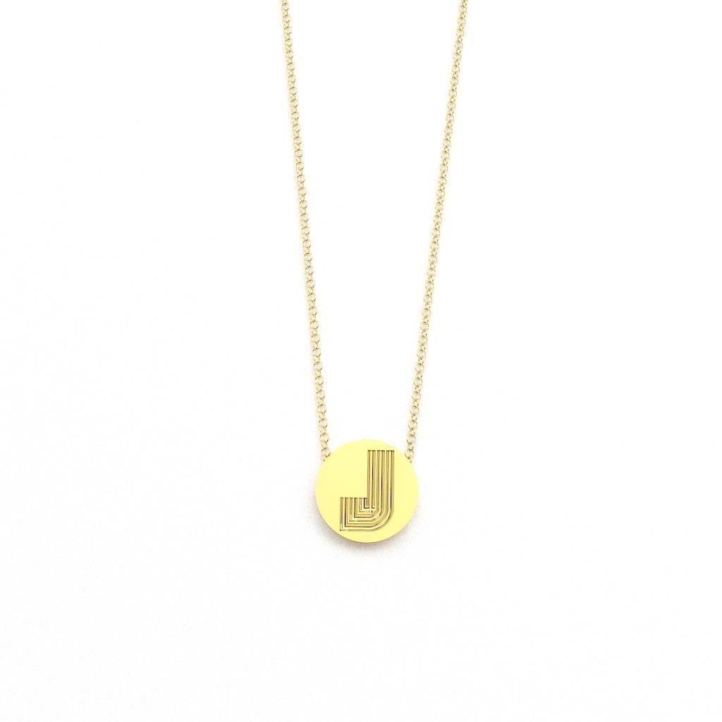 Radiant Disc Initial Pendant Necklace